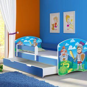 Drveni dječji krevet s bočnom stranicom i dodatnom ladicom na izvlačenje – plavi 140x70