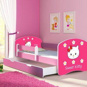 Drveni dječji krevet s bočnom stranicom i dodatnom ladicom na izvlačenje – rozi 140x70