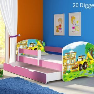 Dječji krevet rozi s bočnom stranicom i ladicom 20 Digger