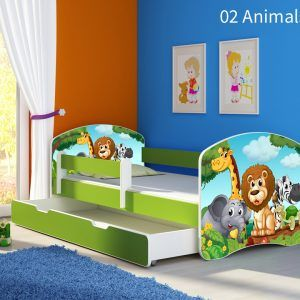 Dječji krevet zeleni s bočnom stranicom i ladicom 02 Animals
