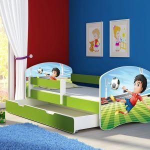 Drveni dječji krevet s bočnom stranicom i dodatnom ladicom na izvlačenje – zeleni 140x70