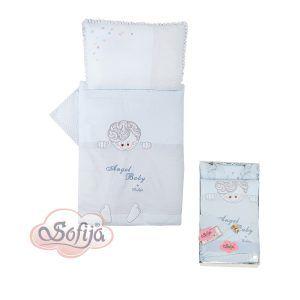 Sofija komplet posteljina 5 dijela Moli, boja plava
