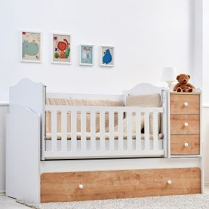NOVA dječji krevetić 5u1 s ladicom natur-bijeli b