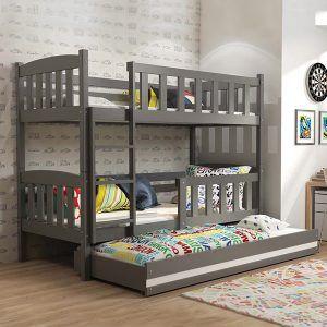 BMS dječji krevet na kat s ladicom za 3 djeteta KUBUS grafit (0)