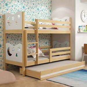 BMS dječji krevet na kat s ladicom za 3 djeteta MIKO pine (0)