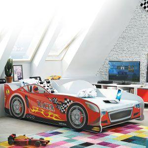 BMS drveni dječji krevet auto crveni