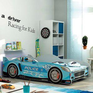 BMS drveni dječji krevet auto plavi