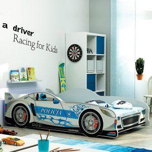 BMS drveni dječji krevet auto srebrni