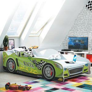 BMS drveni dječji krevet auto zeleni