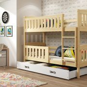 Dječji krevet BMS Kubus pine za dvoje djece bijela ladica