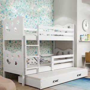 Dječji krevet BMS Miko bijeli za troje djece naslovna