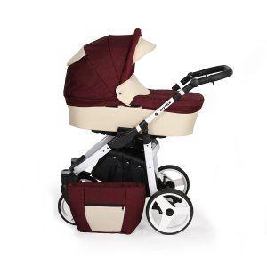 Dječja kolica Kunert Rotax bijela rama - bordo krem naslovna