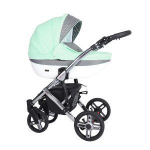 Dječja kolica Kunert MILA Premium SILVER 14 menta + točke