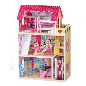 4120 Drvena kuća za lutke Ecotoys Raspberry Mansion s liftom 01