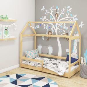 Dječji krevet Acma HOUSE2 s bočnim ogradicama natur 01