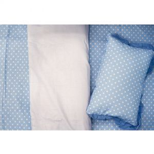 pinokio posteljina plava točkice
