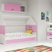 Dječji krevet BMS DOMI bijela konstrukcija-roza