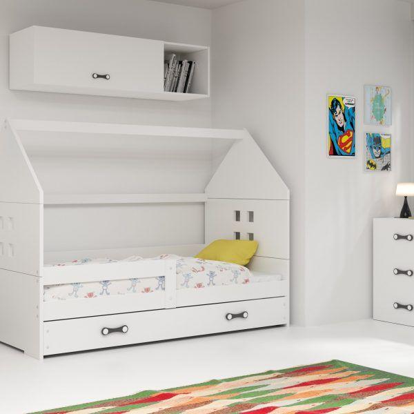 Dječji krevet BMS DOMI s ladicom bijela konstrukcija-bijela