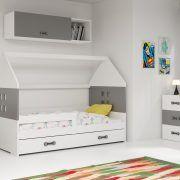 Dječji krevet BMS DOMI s ladicom bijela konstrukcija-grafit