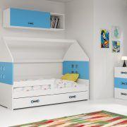 Dječji krevet BMS DOMI s ladicom bijela konstrukcija-plava