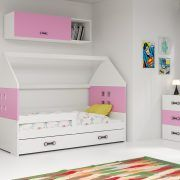 Dječji krevet BMS DOMI s ladicom bijela konstrukcija-roza