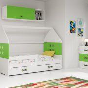 Dječji krevet BMS DOMI s ladicom bijela konstrukcija-zelena