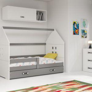 Dječji krevet BMS DOMI s ladicom grafit konstrukcija-bijela