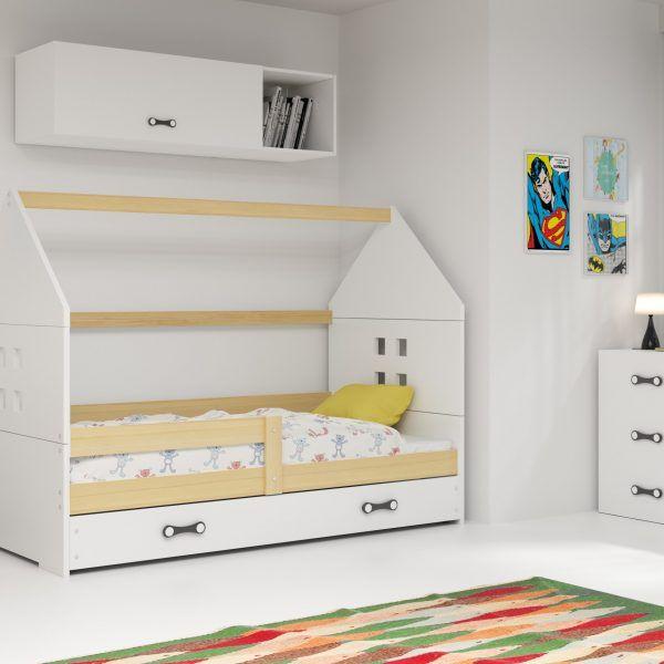 Dječji krevet BMS DOMI s ladicom natur konstrukcija-bijela