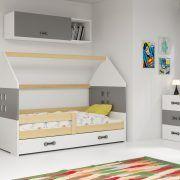 Dječji krevet BMS DOMI s ladicom natur konstrukcija-grafit