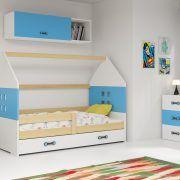 Dječji krevet BMS DOMI s ladicom natur konstrukcija-plava
