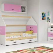 Dječji krevet BMS DOMI s ladicom natur konstrukcija-roza