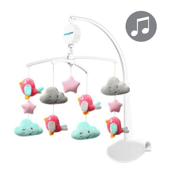 BabyOno Glazbeni vrtuljak Oblaci&Ptice roza