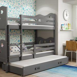Drveni dječji krevet na kat s ladicom MIKO, za 3 djeteta, Grafit