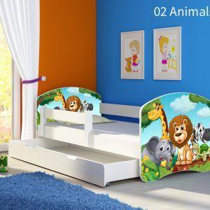 Dječji krevet bijeli s bočnom stranicom i ladicom 02 Animals