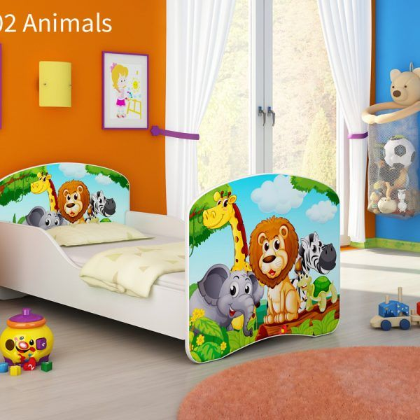 Drveni dječji krevet 02 Animals
