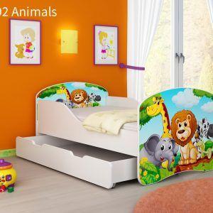 Drveni dječji krevet s ladicom 02 Animals