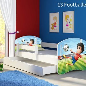 Dječji krevet bijeli s bočnom stranicom i ladicom 13 Footballer