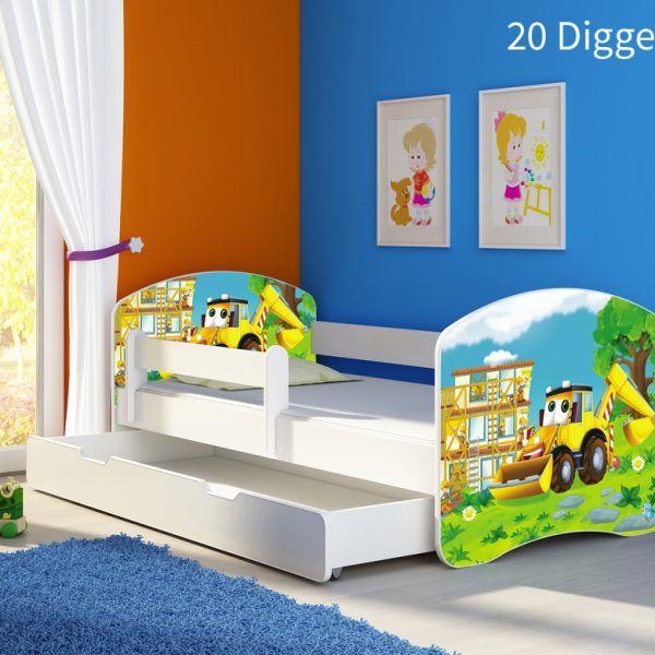 Dječji krevet bijeli s bočnom stranicom i ladicom 20 Digger