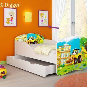 Drveni dječji krevet s ladicom 20 Digger