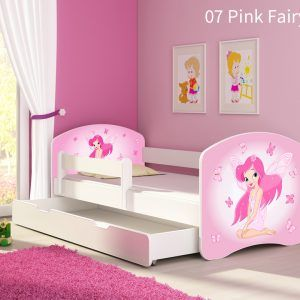 Dječji krevet bijeli s bočnom stranicom i ladicom 07 Pink Fairy