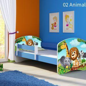 Dječji krevet plavi s bočnom stranicom 02 animals