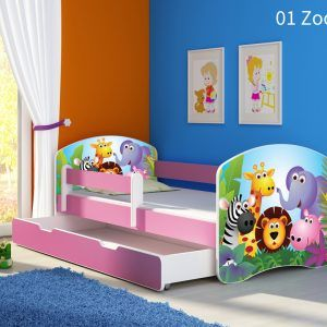 Dječji krevet rozi s bočnom stranicom i ladicom 01 Zoo