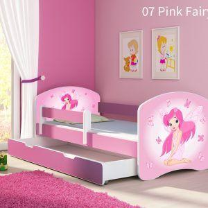 Dječji krevet rozi s bočnom stranicom i ladicom 07 Pink fairy