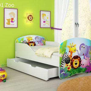 Drveni dječji krevet s ladicom 01 Zoo