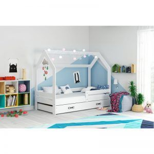 Krevet DOMEK 160x80 bijeli s ladicom