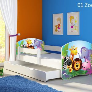 Dječji krevet bijeli s bočnom stranicom i ladicom 01 Zoo